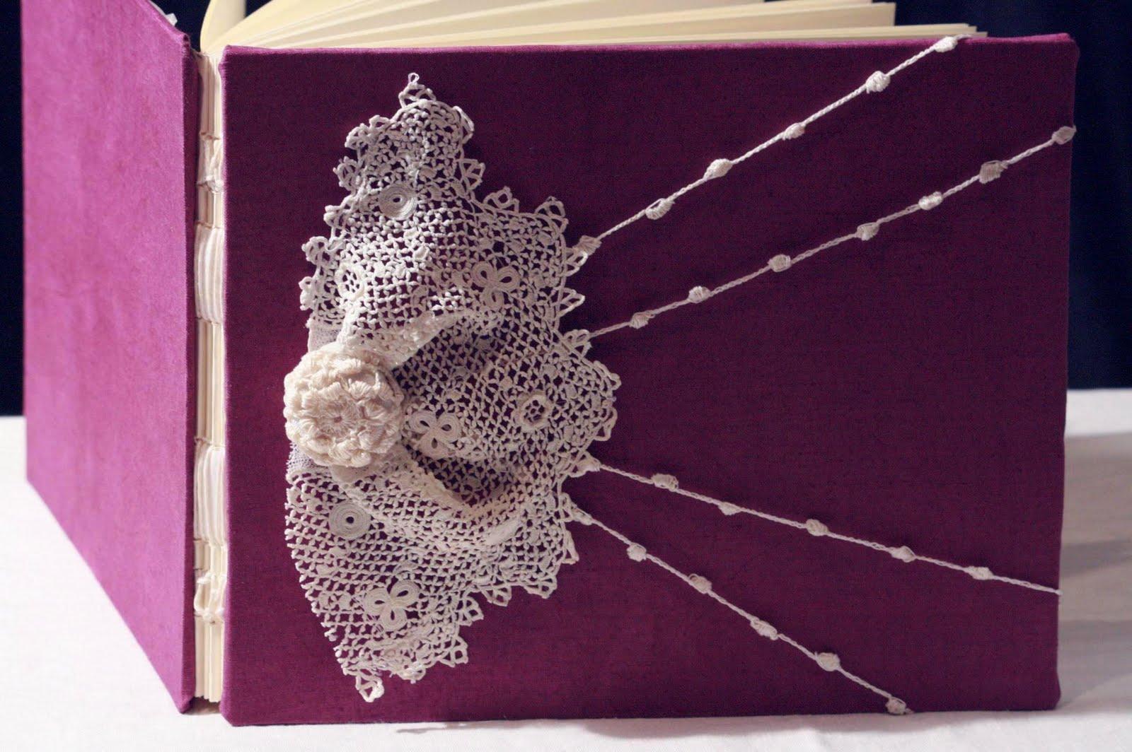 Crochet Lace Book Cover ~ Guest book plum purple lace wedding