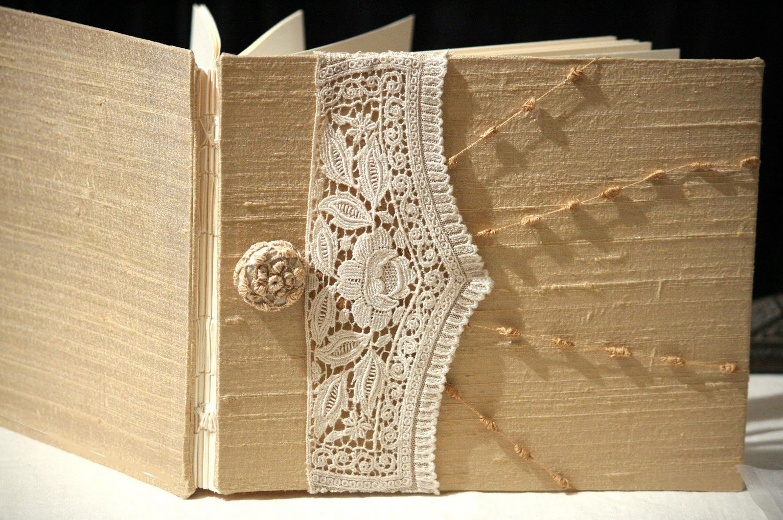 Book Cover Handmade ~ Champagne gold antique lace wedding guest book