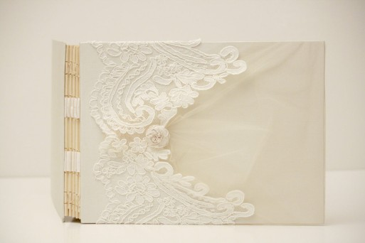 New Alencon Lace Wedding Photo Guest Book by ArtbyChapin