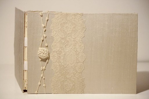 Ivory Antique Alencon Lace Wedding Album by Art By Chapin