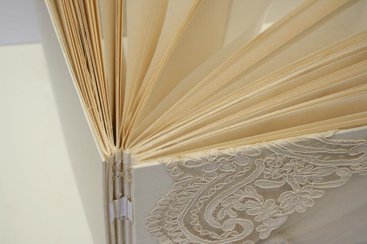 glassine papers Ivory Lace on Ivory Shantung with Tulle Book by ArtByChapin http://www.artbychapin.com/product/personalized-ivory-lace-wedding-photo-album-handmade-custom-wedding-book-glassine