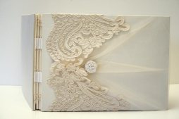 front Ivory Lace on Ivory Shantung with Tulle Book by ArtByChapin http://www.artbychapin.com/product/personalized-ivory-lace-wedding-photo-album-handmade-custom-wedding-book-glassine